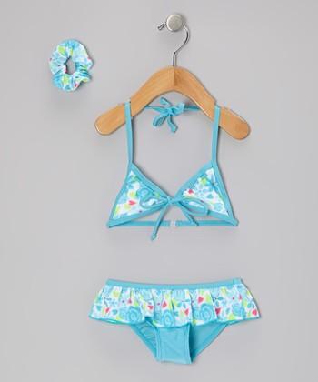 Sweet & Soft Blue Floral Skirted Bikini & Hair Tie - Toddler