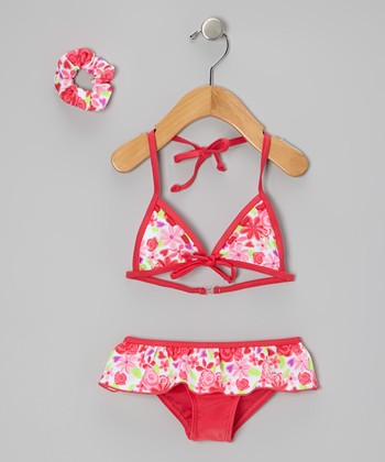 Red Floral Skirted Bikini & Hair Tie - Toddler