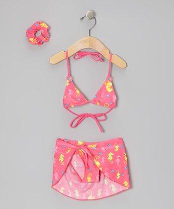Sweet & Soft Pink Sea Horse Bikini Set - Toddler
