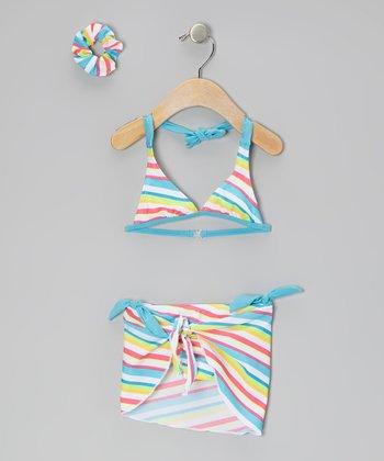 Sweet & Soft Blue Stripe Bikini Set - Toddler