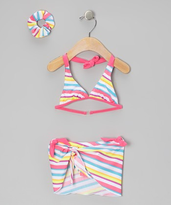 Pink & Blue Stripe Bikini Set - Toddler