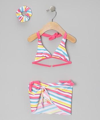 Sweet & Soft Pink & Blue Stripe Bikini Set - Toddler