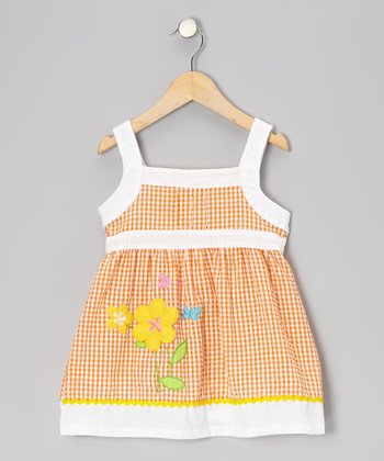 Orange & White Gingham Flower Seersucker Dress - Toddler
