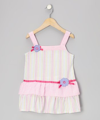 Pink Stripe Ruffle Lilac Seersucker Dress - Toddler