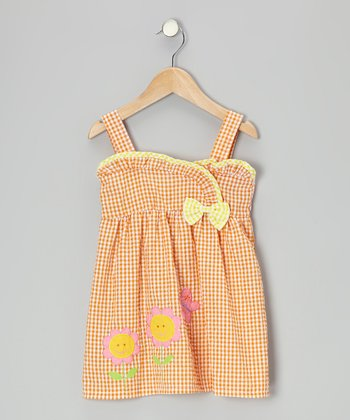 Orange Gingham Flower Seersucker Dress - Toddler