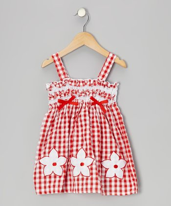 Red Gingham Shirred Flower Seersucker Dress - Toddler