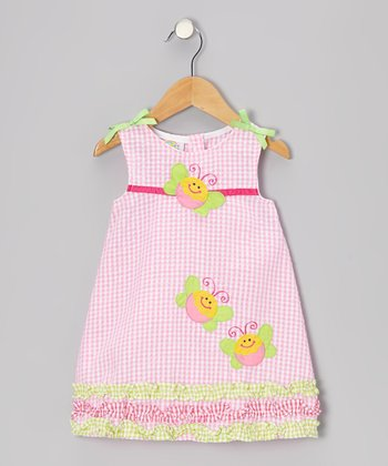 Pink Gingham Ruffle Butterfly Seersucker Dress - Toddler