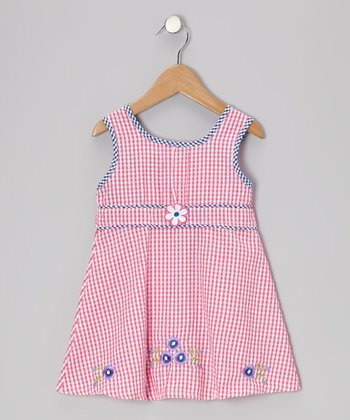 Pink Gingham Lilac Seersucker Dress - Toddler