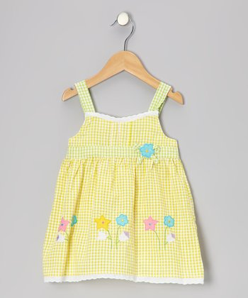 Yellow & Green Gingham Flower Seersucker Dress - Toddler