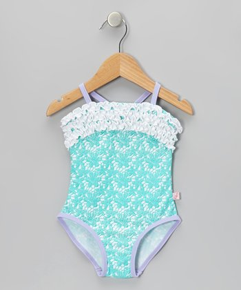 Aqua Ruffles & Lace One-Piece - Infant & Toddler