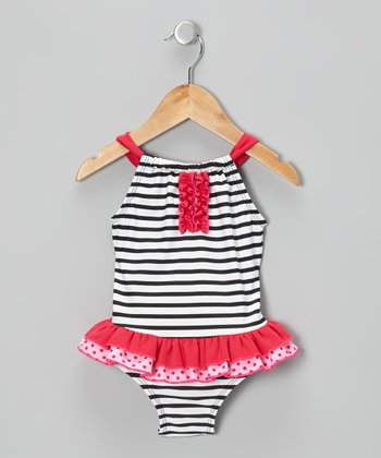 Pink Stripe & Dot Skirted One-Piece - Infant, Toddler & Girls