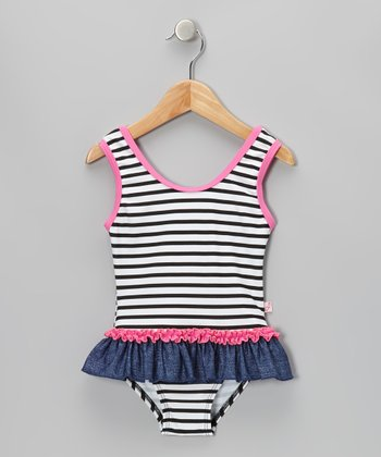Denim Blue & Black Stripe One-Piece - Infant