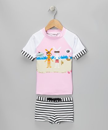 Pink Bunnies on the Beach Rashguard Set - Infant