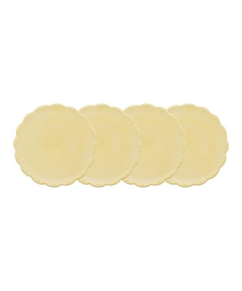 Butter Yellow Scallop Dessert Plate - Set of Four