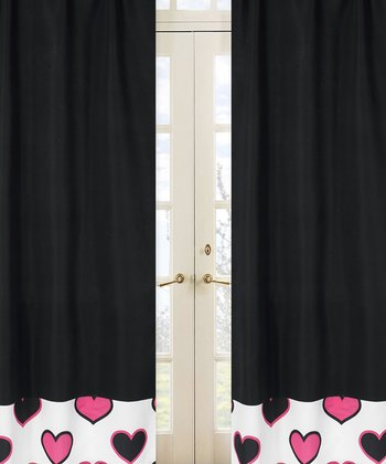 JoJo Designs Black Hearts Curtain 2-Piece Set
