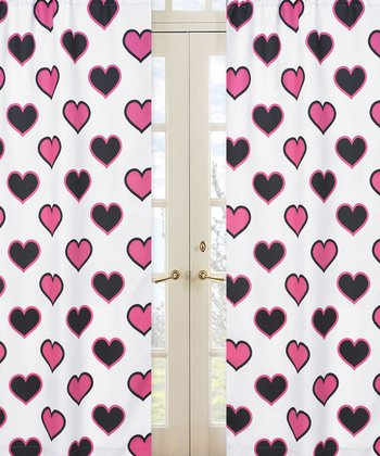 JoJo Designs White Hearts Curtain 2-Piece Set