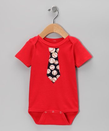 Red & Blue Baseball Tie Bodysuit - Infant