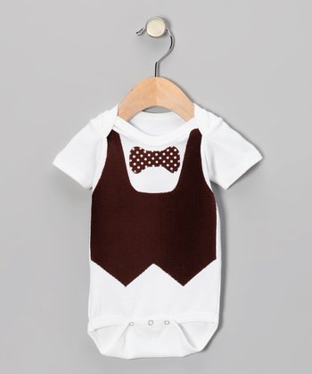 Brown Bow Tie Vest Bodysuit - Infant