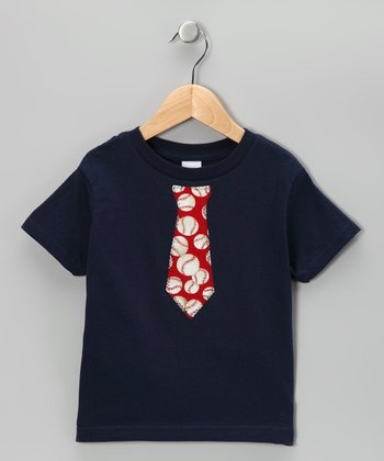Blue & Red Baseball Tie Tee - Toddler & Boys