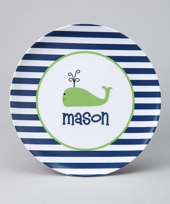 Navy Stripe Whale Personalized Plate