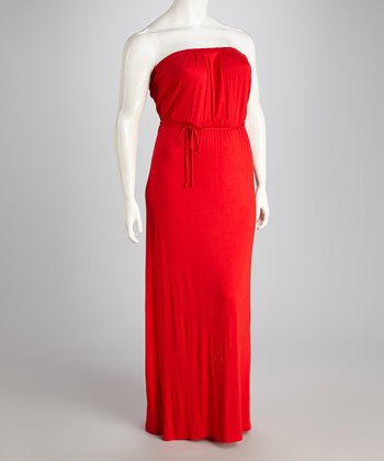 Red Strapless Maxi Dress - Plus