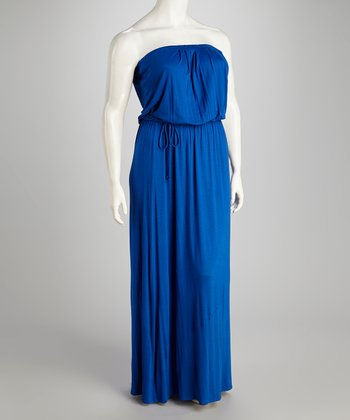 Royal Blue Strapless Maxi Dress - Plus