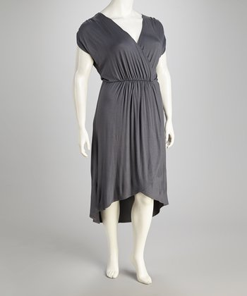 Gunmetal Surplice Hi-Low Dress - Plus