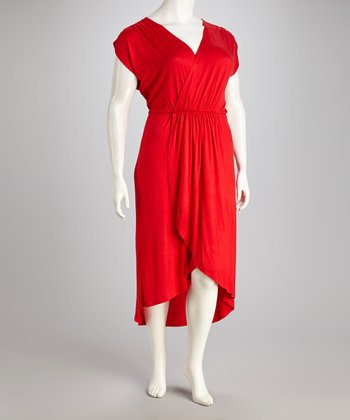 Red Surplice Hi-Low Dress - Plus