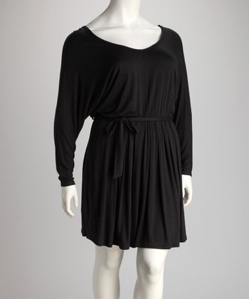 Black Pleat V-Neck Dress - Plus