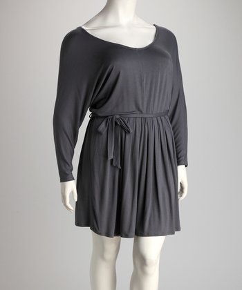 Charcoal Pleat V-Neck Dress - Plus