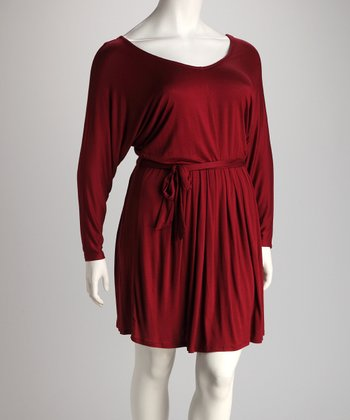 Wine Pleat V-Neck Dress - Plus