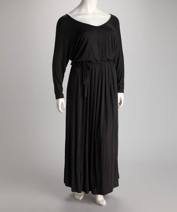 Black V-Neck Maxi Dress - Plus