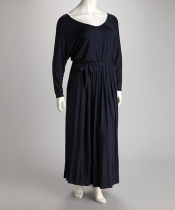 Navy V-Neck Maxi Dress - Plus