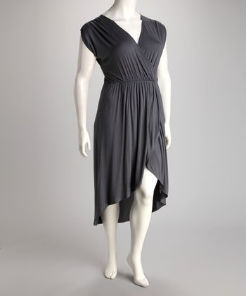 Dark Gray Hi-Low Dress - Plus