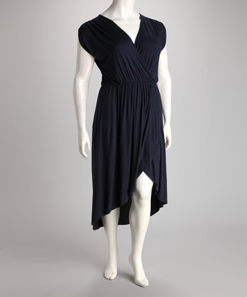 Navy Hi-Low Dress - Plus