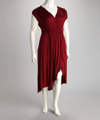 Wine Hi-Low Dress - Plus