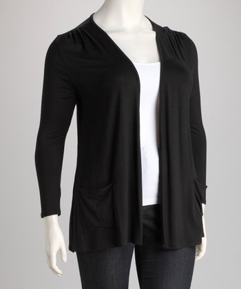 Black Pocket Open Cardigan - Plus