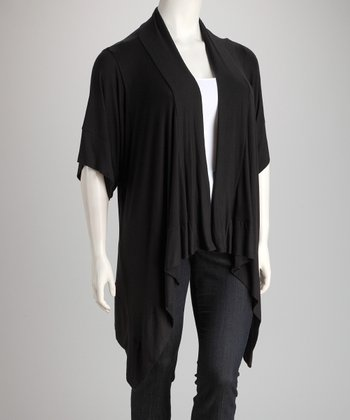 Black Open Sidetail Cardigan - Plus