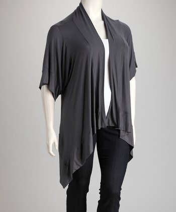 Dark Gray Sidetail Open Cardigan - Plus