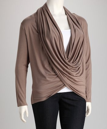 Taupe Cardigan - Plus