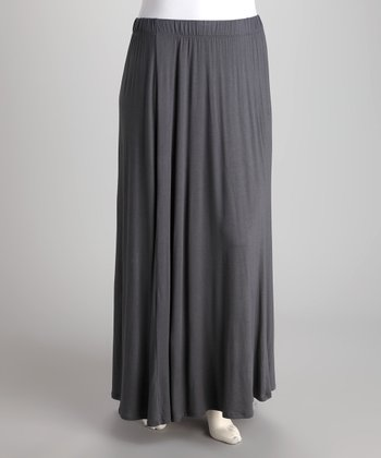 Dark Gray Flare Maxi Skirt - Plus
