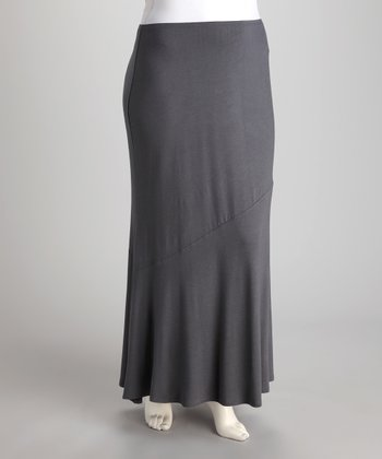 Dark Gray Maxi Skirt - Plus