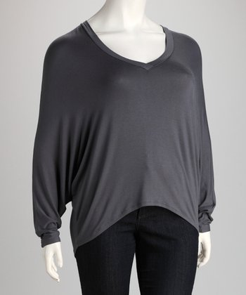 Dark Gray V-Neck Dolman Top - Plus
