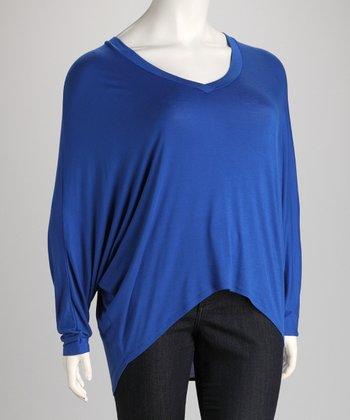 Royal Blue V-Neck Dolman Top - Plus
