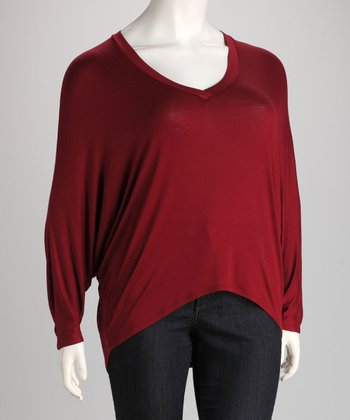 Wine V-Neck Dolman Top - Plus