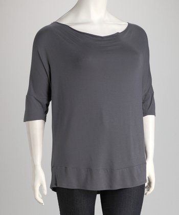 Dark Gray Cowl Neck Top - Plus