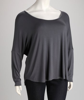 Dark Gray Dolman Top - Plus