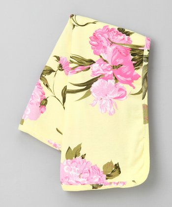 Yellow Palm Beach Floral Blanket