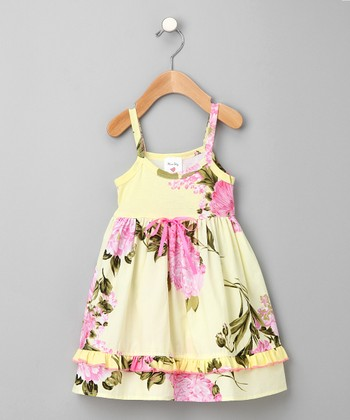 Yellow Palm Beach Organic Lily Dress - Toddler