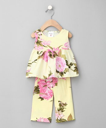 Palm Beach Floral Organic Babydoll Top & Pants - Infant